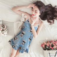 睡衣女夏季韩版短袖冰丝吊带睡裙夏天真丝家居服丝绸