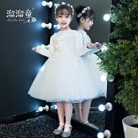 儿童礼服白色短款长袖公主裙女孩生日走秀演出服花童主持人晚礼服