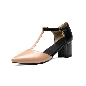 ELEISE美国艾蕾莎新品098-7356学院超纤皮高跟粗跟尖头中空女士凉鞋