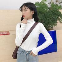 春装女装新款韩版高领修身加厚打底衫百搭长袖内搭T恤上衣纯色潮