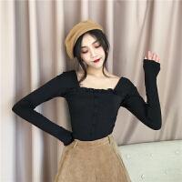 春季新款女装港味性感修身显瘦木耳边单排扣学生长袖T恤打底衫女