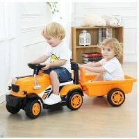 儿童电动车宝宝手扶拖拉机玩具车可坐人小孩电动汽车带斗四轮网红