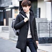 反季清仓男士修身中长款连帽羽绒服青年韩版帅气冬季加厚男潮外套 黑色
