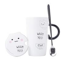创意马克杯带盖勺办公室软妹可爱陶瓷杯牛奶大容量仙女咖啡水杯子