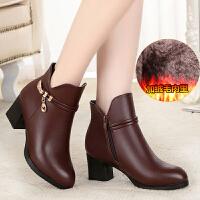 新品秋冬季中年女鞋妈妈棉鞋真皮皮鞋女士短靴棉靴中跟中老年女靴短筒 浅棕色(5950ZJ) 37