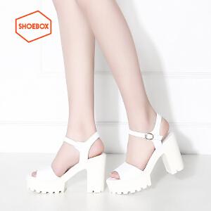 达芙妮集团 鞋柜性感高跟夏休闲粗跟防水台一字扣带凉鞋