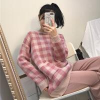 秋冬女装2017新款韩版中长款宽松百搭圆领套头针织衫格子毛衣学生