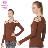 瑜伽服运动健身服长袖T恤带胸垫 露时尚显瘦跑步秋冬运动跑步