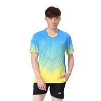 新品立领羽毛球服情侣上衣男女运动短袖T恤乒乓球速干 情侣羽毛球服乒乓球服套装 X