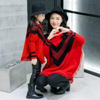 母女装秋冬潮韩版大码宽松蝙蝠袖亲子装毛衣外套