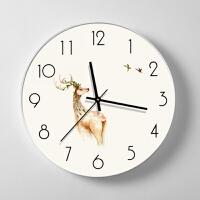 北欧麋鹿挂钟客厅静音挂表现代简约个性创意钟表家用卧室时钟壁钟