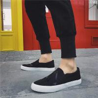 夏季男士休闲帆布鞋低帮学生平底黑色板鞋男鞋一脚蹬透气懒人鞋子