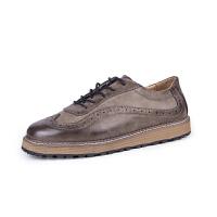 秋冬季新款休闲皮鞋男士布洛克雕花潮男鞋复古英伦韩版青年潮鞋CL-1688 灰色 39
