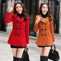 秋装韩版女装长袖毛呢外套初冬修身显瘦短款大码时尚潮流呢子大衣