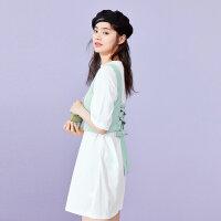 太平鸟两件式T恤连衣裙2019新款夏酷酷风格女装裙收腰显瘦仙女裙