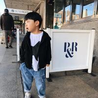 童装秋装新款男童黑色字母印花连帽卫衣韩版中大童开衫外套