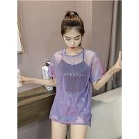 紫色透视亮丝网纱短袖T恤女2018新款怪味少女体恤中长款+吊带上衣
