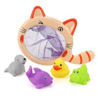 宝宝洗澡玩具漂浮小猫捞鱼儿童婴儿戏水玩具软胶玩水女孩游泳男孩