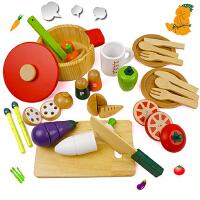 木制儿童磁性切切乐过家家男女孩仿真蔬菜火锅切切看厨房玩具套装