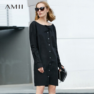 Amii极简休闲宽松一字领纯棉中长款衬衫女2018秋新款黑色露肩上衣