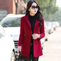 毛呢外套女短款修身长袖2016秋季冬天双排扣韩版呢子大衣上衣收腰