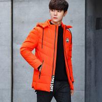 羽绒服男正品款小清新韩版中长款冬季连帽新款潮保暖 桔红 M