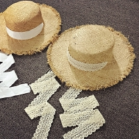 女童飘带拉菲草手工蕾丝编织草帽儿童遮阳帽沙滩帽夏天防晒大礼帽