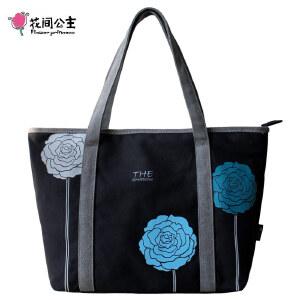 花间公主2018三色花气质韩版女士包包袋帆布包女包大包单肩包手提包