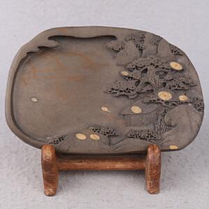 中国非物质文化遗产传承人群 钟景锐作品《众星拱照》砚