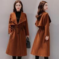 焦糖色呢子外套女长款过膝冬季新款斗篷型宽松显瘦收腰毛呢大衣
