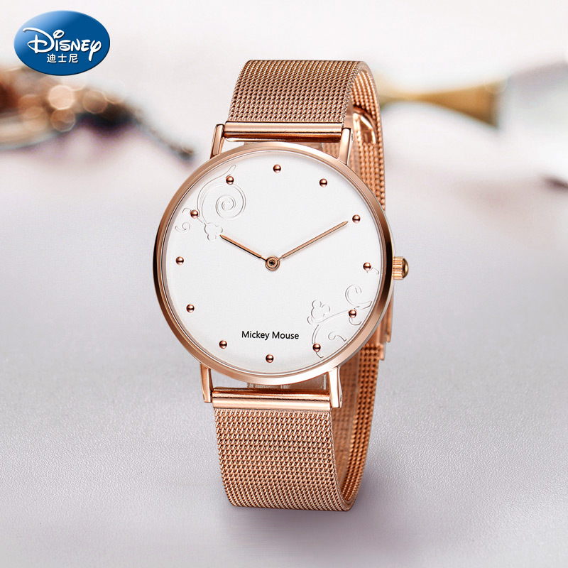 迪士尼女士手表钢带学生表少女中学生时尚休闲简约超薄女表石英表