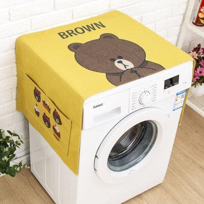 布朗熊滚筒洗衣机罩防水盖布棉麻床头柜盖巾冰箱防尘防晒布 发货周期:一般在付款后2-90天左右发货,具体发货时间请以与客服协商的时间为准
