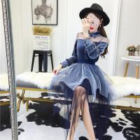 娇小女装 时髦套装丝绒网纱衬衣+不规则网纱裙夜场女款裙子 超仙