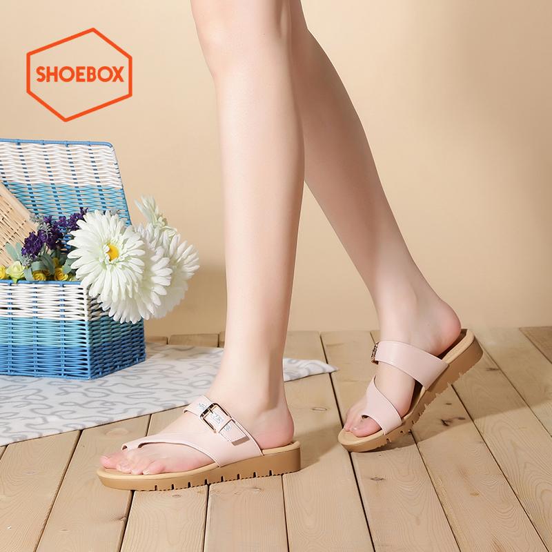 达芙妮旗下shoebox鞋柜夏季新款套趾凉鞋女时尚休闲套脚低跟平底女鞋