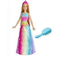 娃娃彩虹长发公主女孩装扮梳妆玩具FRB12套装大礼盒生日礼物 彩虹长发公主FRB12 正品现货