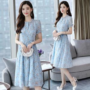 2018夏装气质淑女蓝色雪纺碎花长裙短袖中长款小清新连衣裙