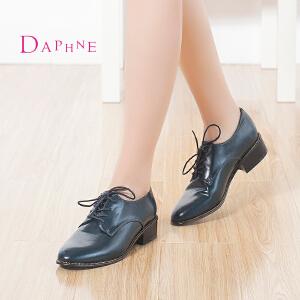 Daphne/达芙妮 秋正品 低跟英伦学院风女鞋圆头系带深口单鞋子