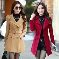 韩版女装秋冬外套中长款呢子风衣双排扣外衣30-40岁中年女人衣服