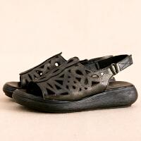 复古镂空拖鞋女魔术贴休闲百搭舒适厚底防水台坡跟凉鞋女鞋夏