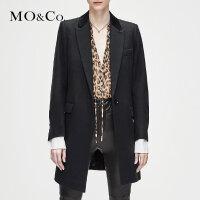 MOCO冬季新品翻领个性拼接毛呢外套糖果色大衣MA184OVC109 摩安珂