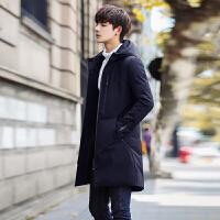 男士棉衣冬季新款中长款韩版修身帅气潮流休闲连帽外套男