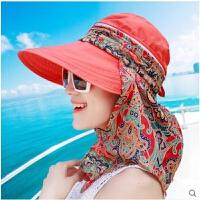 防晒帽遮脸防紫外线女遮阳帽可折叠 户外出游沙滩帽太阳帽子夏季 可拆防晒帽 橘色 可调节