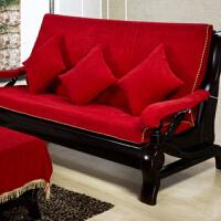 实木沙发垫带靠背三人位坐垫底四季通用沙发垫客厅组合套装