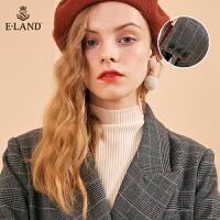 【1件4折价:699元】ELAND冬季复古亲王格双排扣毛呢大衣外套女EEJW84T21N