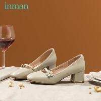 茵曼女鞋春季女高跟鞋花朵女鞋晚晚鞋仙女风网红配长裙子
