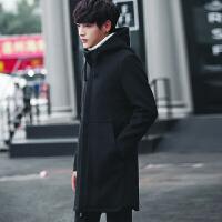 男士韩版中长款风衣男连帽秋冬季修身呢子大衣男潮流休闲毛呢外套 黑色 M