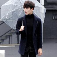 风衣男韩版中长款冬季加绒加厚青年外套修身呢子大衣毛呢西装英伦 蓝色 M
