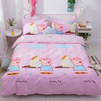 儿童社会人床单四件套棉女孩男孩少女青少年卡通棉床笠三件套