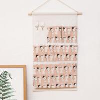 墙上悬挂式收纳袋挂袋墙挂式置物袋门后衣柜收纳电表箱后挂袋布艺 乳白色 5兜粉底兔子 中号