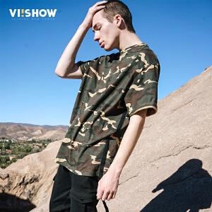 viishow2017迷彩短袖t恤男军旅圆领套头青年体恤欧美街头男士T恤